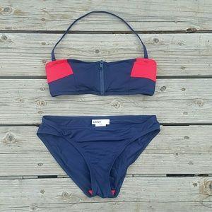 DKNY Bikini Sz Small Blue Red